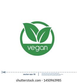 vegan stamp icon vector logo template