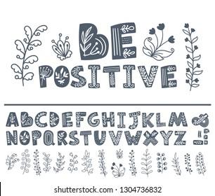 Vegan theme hand drawn font. Doodle alphabet. Vector illustration.