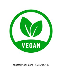 Vegan vector icon. Organic, bio, eco symbol. Vegan, no meat, lactose free, healthy, fresh and nonviolent food. Round green vector illustration with leaves for stickers, labels and logos