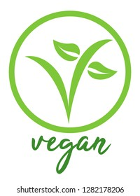 Vegan vector illustration symbol with the V shape and the leaves. Text is Tahu.