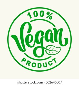 Vegan Vector Lettering Stamp Illustration.