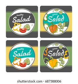 Vegan vegetable healthy green salad package design, four options.