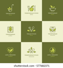 Vegan and vegetarian food linear logos and icons set for restaurant menu or recipes website