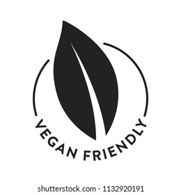 Vegan Vegetarian Friendly Vector Logo Symbol Icon Leaf Text Isolated Illustration Background