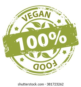 Vegan or Vegetarian healthy Food 100 percent green rubber stamp rubber stamp icon isolated on white background. Vector illustration