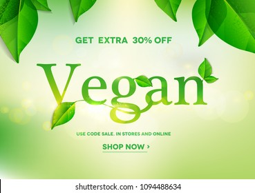 Vegan word on natural green background.Vegan sale.Vector illustration EPS10