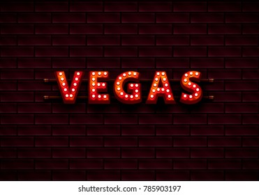 Vegas banner text on the background of the brick wall. Vector illustration