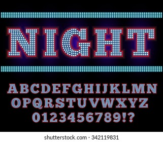 Vegas or Retro Broadway Style Night Font. Neon blue and Red colored vector alphabet