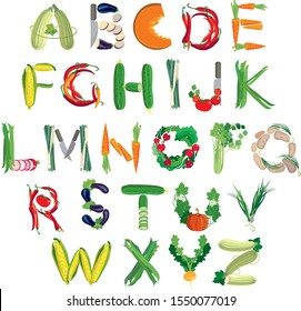Vegetable alphabet of the original vector letters