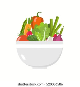 Vegetable bowl. Flat design.