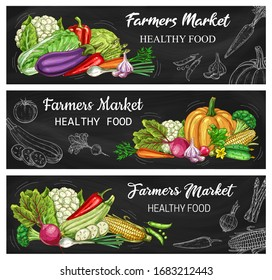 Vegetable chalkboard banners with vector chalk sketches of carrot, tomato, pepper and chilli. Radish, garlic, onion and broccoli, cabbage, eggplant, pea and corn, cauliflower, asparagus and zucchini