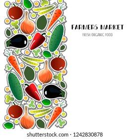 Vegetable elements set. Concept for farmers market, organic food, grocery store, cafe, restaurant, food. Natural product, vegetarian, fresh design. Frame, banner, flyer, poster, tag, badge