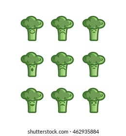 Vegetable emotion icons, set of 9, broccoli