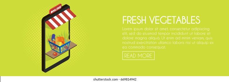 Vegetable Food Online Shop Concept. Isometric Phone Storefront Vector  Illustration. Web Banner Template.