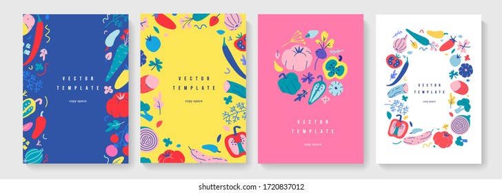 Vegetable frame collection, vertical banners or posters for farmers market or food fair, vector layouts with copy space, set of borders with hand drawn illustrations of organic foods