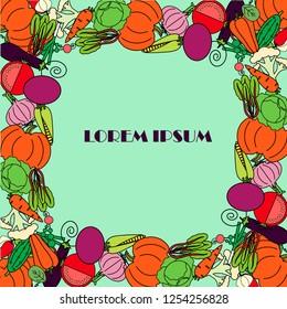 Vegetable frame from red beet, cauliflower, radish, green cucumber, orange pumpkin, red tomato, onion, garlic, mangold, corn, spinach, carrot, violet eggplant, Lorem Ipsum on light green design elemen