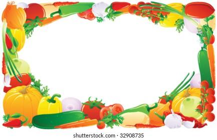Vegetable frame. Vector illustration.