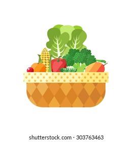 Vegetable and fruit basket isolated (cranberry, mandarin, corn, pepper, pea, broccoli, mango). Vector illustration. Modern flat design.