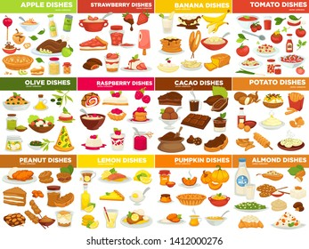 Vegetable fruit and nut dishes food cooking recipes vector apple and strawberry tomato and banana olive and raspberry cacao and potato peanut and lemon pumpkin and almond ingredients meals or desserts