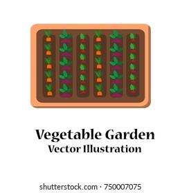 Vegetable garden planner flat design. Vector illustration