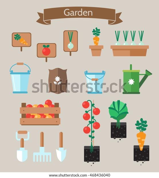 Vegetable Garden Planner Flat Designbeds Cabbage Stock Vector