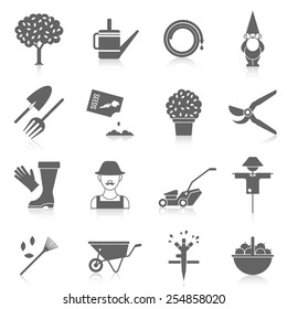Vegetable garden watering hose black icons set with cartoon character silhouette and scarecrow abstract  isolated vector illustration