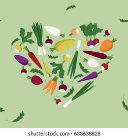 Vegetable heart on light green - vector background