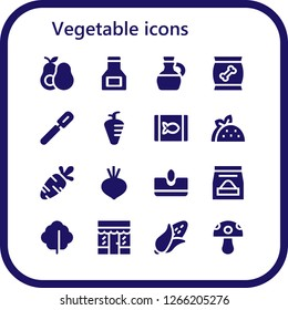 vegetable icon set. 16 filled vegetable icons. Simple modern icons about  - Avocado, Sauce, Olive oil, Food, Peeler, Carrot, Canned food, Taco, Beet, Sow, Lettuce, Grocery, Corn