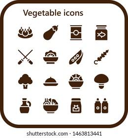 vegetable icon set. 16 filled vegetable icons.  Collection Of - Bitterballen, Eggplant, Tomato, Fish food, Skewers, Salad, Pea, Skewer, Broccoli, Food, Mushroom, Olive oil, Sauces