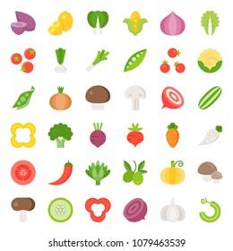Vegetable icon set 2/2, flat design