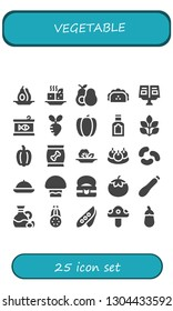 vegetable icon set. 25 filled vegetable icons.  Simple modern icons about  - Avocado, Tofu, Taco, Recipe book, Canned food, Turnip, Pepper, Food, Spinach, Salad, Bitterballen