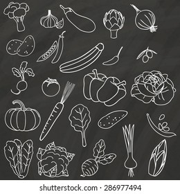 Vegetable icons hand drawn with chalk on a chalk board.