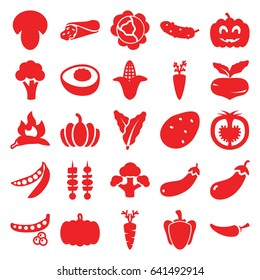 Vegetable icons set. set of 25 vegetable filled icons such as mushroom, pumpkin, potato, beet, peas, cabbage, spinach, chili, eggplant, cauliflower, corn, wrap sandwich