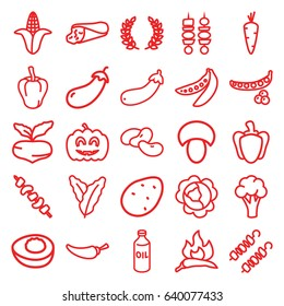 Vegetable icons set. set of 25 vegetable outline icons such as mushroom, potato, carrot, beet, peas, cabbage, spinach, chili, pepper, eggplant, cauliflower, corn, bean, oil