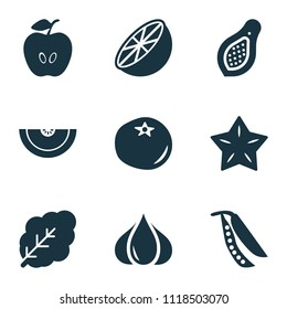 Vegetable icons set with cantaloupe, ketchup, spinach and other pawpaw elements. Isolated vector illustration vegetable icons.