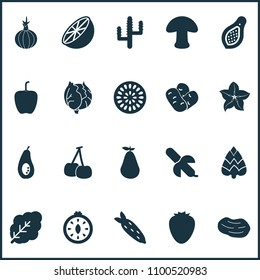 Vegetable icons set with root vegetable, natural, mushroom and other marakuja elements. Isolated vector illustration vegetable icons.