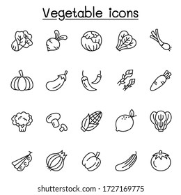 Vegetable icons set in thin line stlye