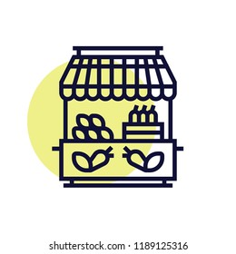 Vegetable kiosk, vegetable sale, grocery bazaar vector icon