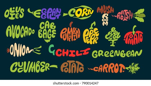 Vegetable lettering. Premium handmade vector lettering and calligraphy phrase for invitation, greeting card, t-shirt, prints, social media, blogs and posters .Vector illustration.