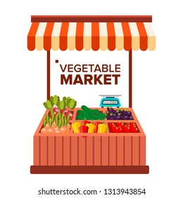 Vegetable Market Vector. Natural Eco Healthy Product. Isolated Flat Cartoon Illustration