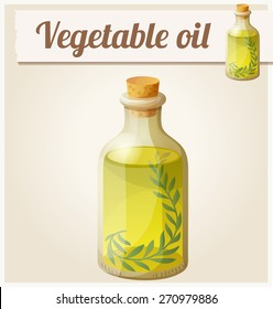 Vegetable oil. Detailed Vector Icon. Series of food and drink and ingredients for cooking.