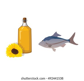 Vegetable oil and fish - useful products. For your convenience, each significant element is in a separate layer. Eps 10