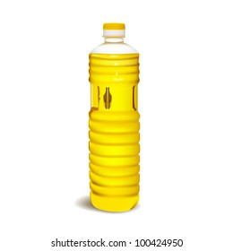 vegetable oil in a plastic bottle isolated on white background