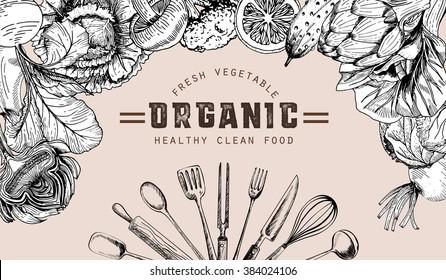 vegetable organic farm fresh drawing doodle style ,web banner design healthy food vegetarian vector illustration