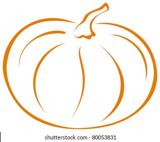 Vegetable, pumpkin, vector, monochrome symbolical pictogram on white background
