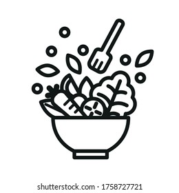 Vegetable Salad Meal Symbol Icon