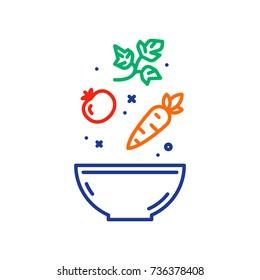 Vegetable salad recipe, eat healthy food, salad fresh ingredients in bowl, vector line icon.