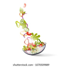 vegetable salad, vector. Vegetables are falling into a bowl