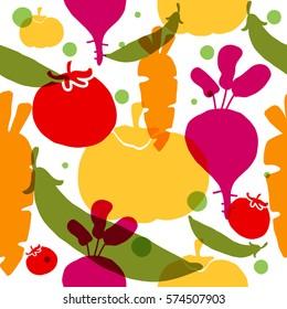 Vegetable seamless pattern. Concept  for restaurant menu backdrop,  smoothies  bar, eco market.