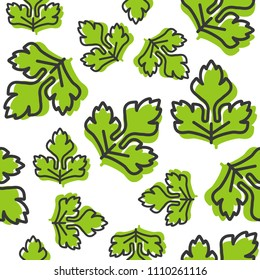 vegetable seamless pattern, coriander or celery leaf outline for wallpaper and background